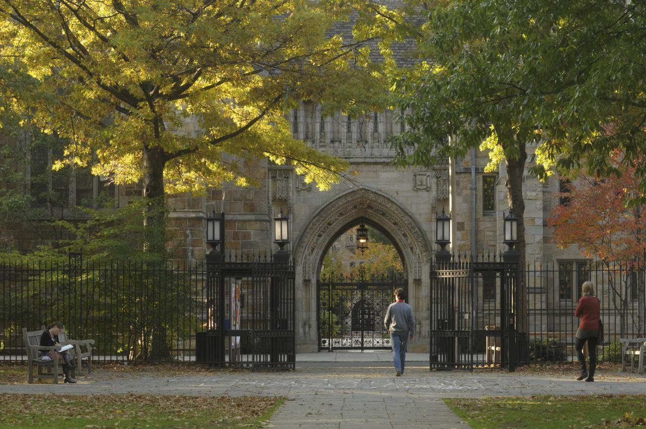 Students walking on the Yale University campus.