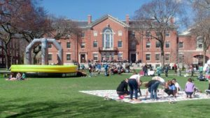 Students on the Brown University quad.