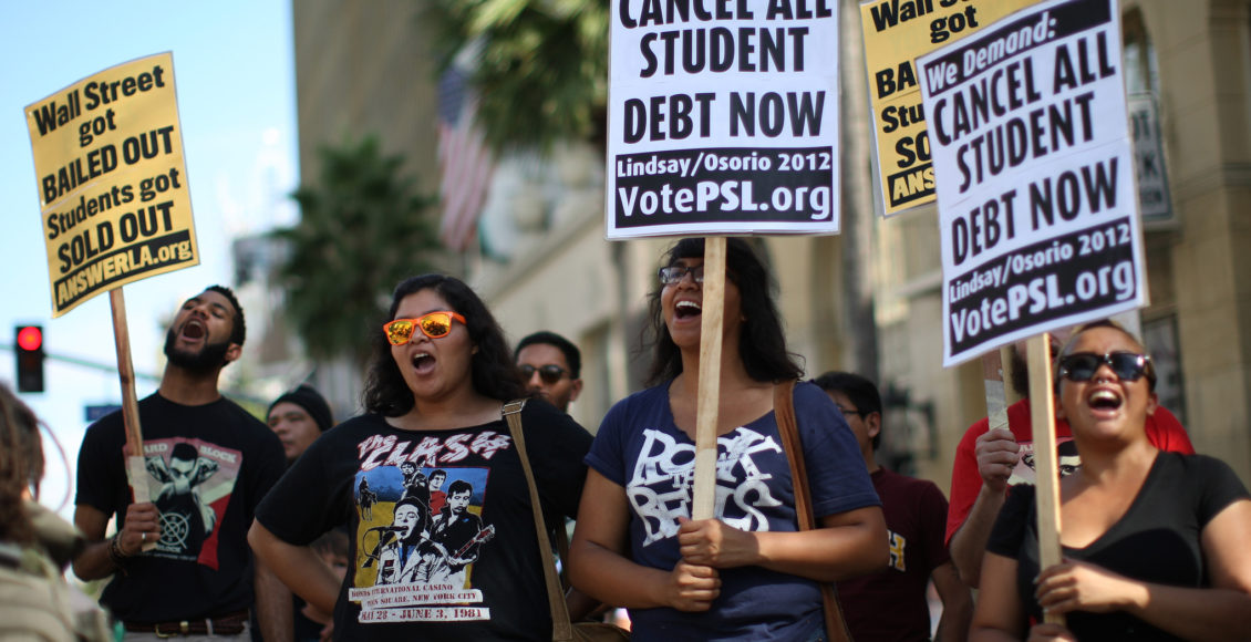 Student protest high amounts of debt.