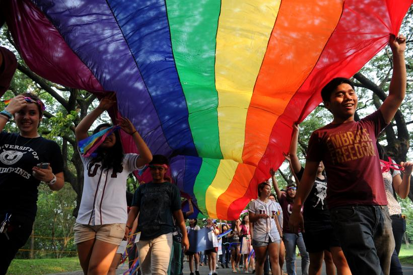 Students participating in an LGBTQ celebration at Emerson College