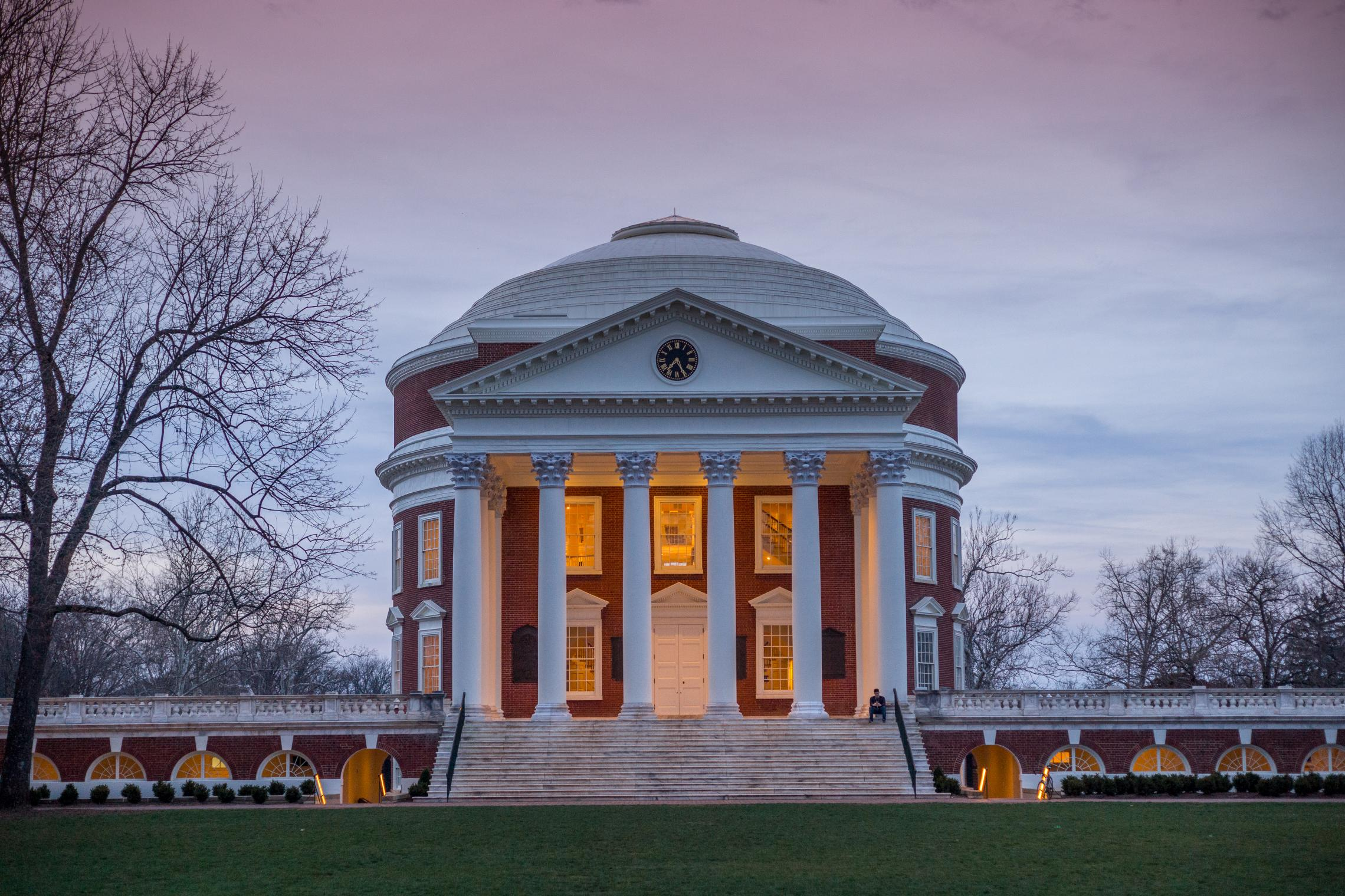 The outside of a building on the University of Virginia's campus.