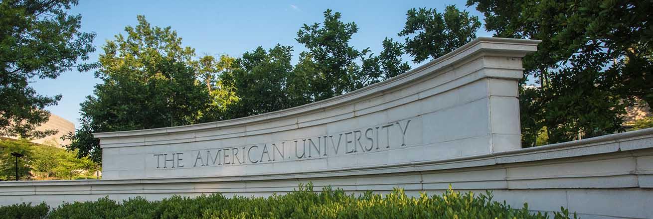 American University campus sign.