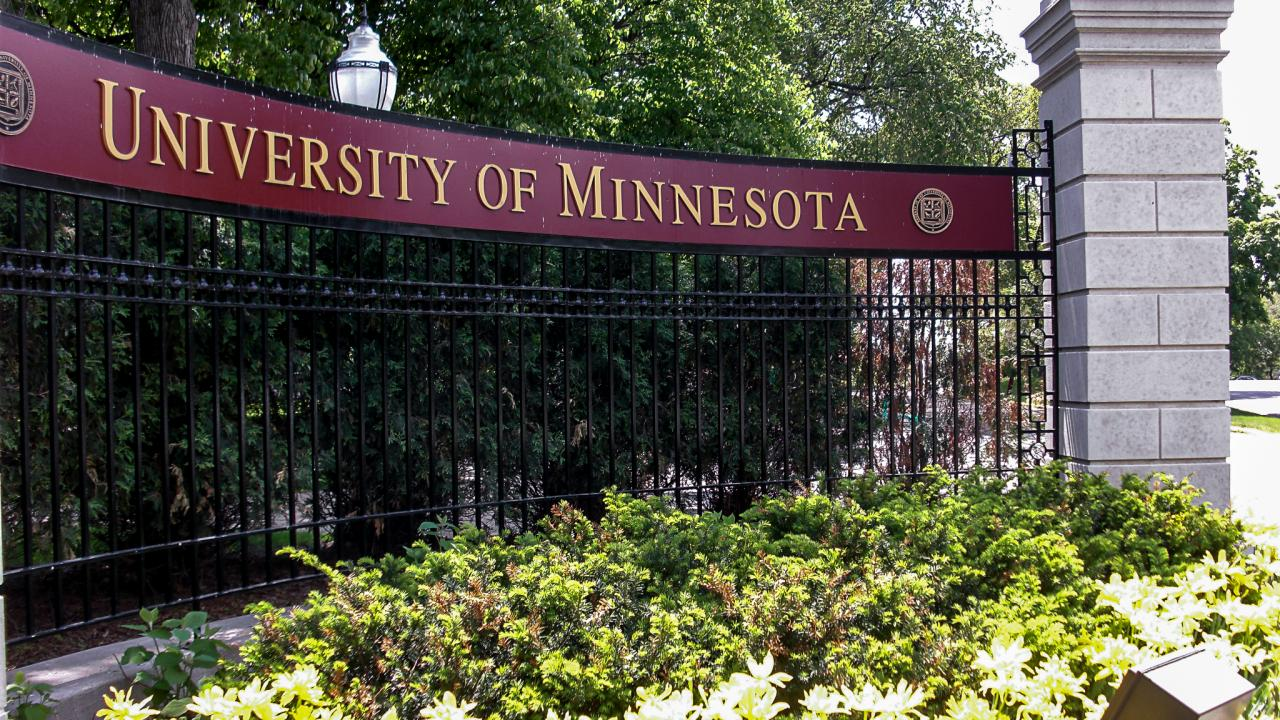 A sign with the University of Minnesota name.