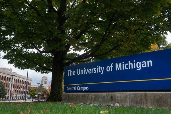 A sign for the University of Michigan.