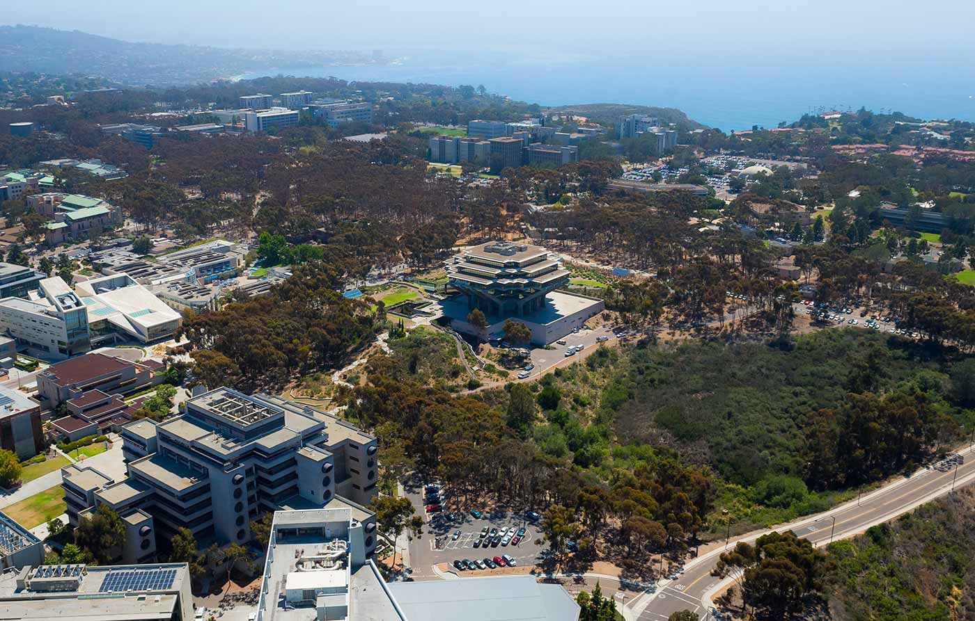 An aerial view of the University of California San Diego campus.