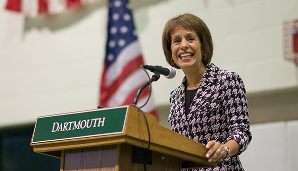 A photo of Carol L. Folt speaking at Dartmouth College.