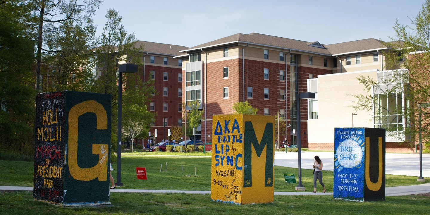 Signs on the George Mason University campus.