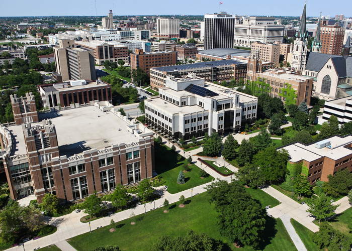 Marquette University aerial view.