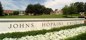 A sign with the words Johns Hopkins University.
