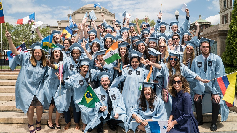 A group of international students who attend Columbia University.