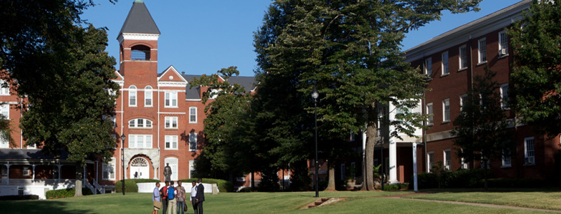 Students walking across the Morehouse College campus.