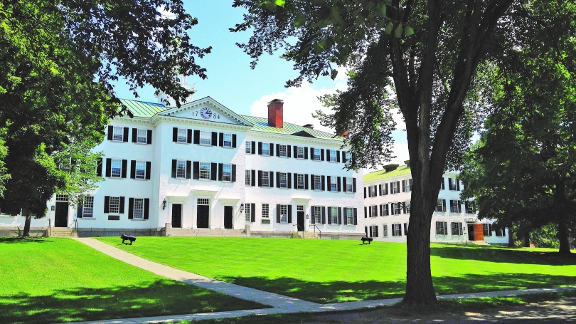 The exterior of Dartmouth Hall.