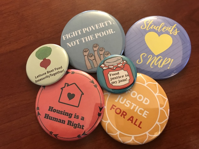 Buttons produced by OSU students to destigmatize food insecurity on the University's campus.