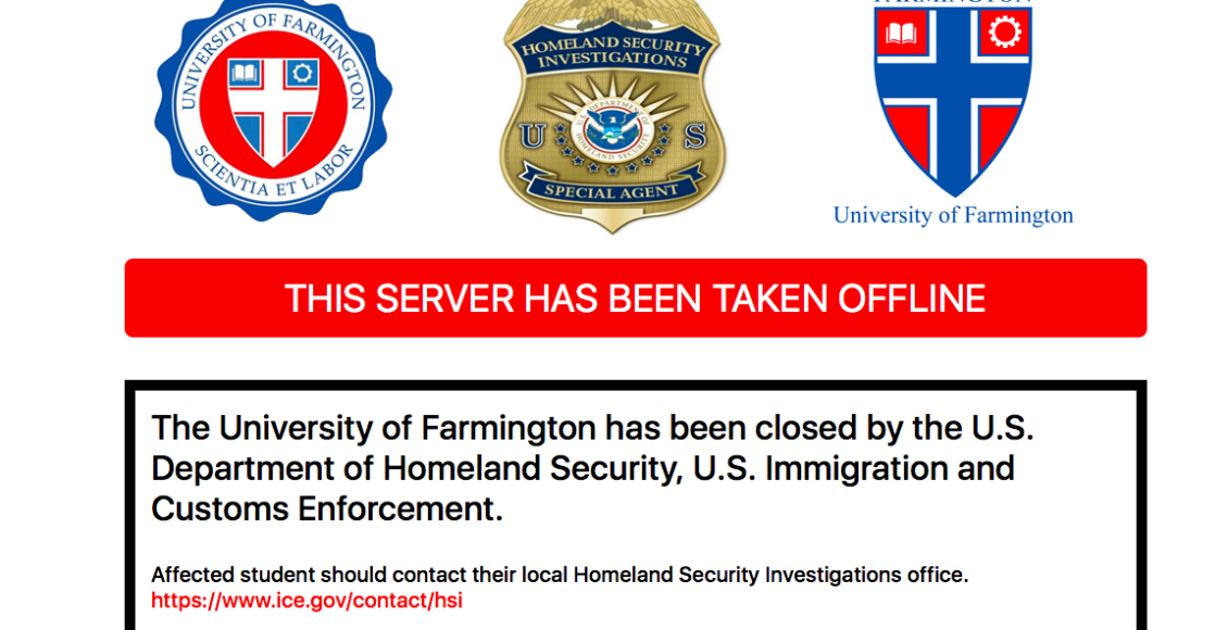 A screenshot of the University of Farmington website after federal agents arrested students and recruiters on Jan. 30. Photo: University of Farmington Website.