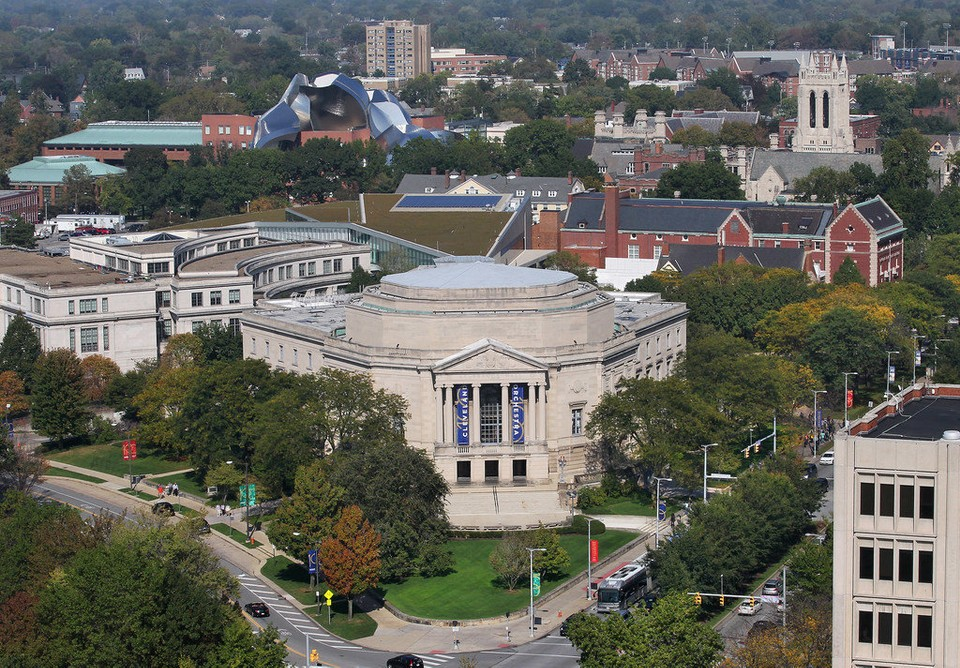 The Case Western Reserve University campus, with Severance Hall in the foreground, as viewed last fall from the nearly completed One University Circle apartment tower.