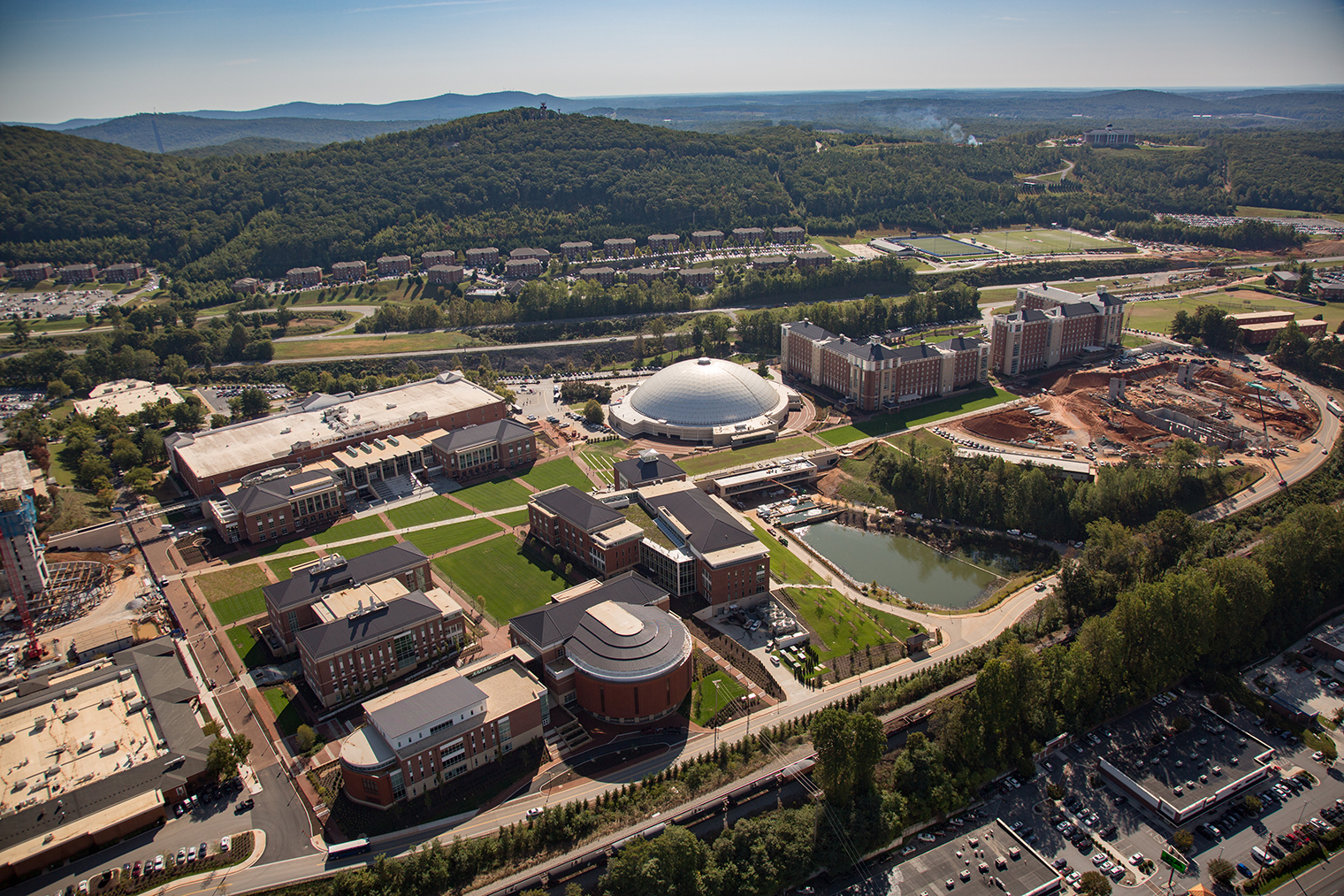 An aerial view of the Liberty University campus.