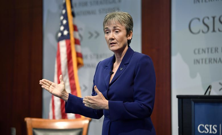 Secretary of the Air Force Heather Wilson speaks at the Center for Strategic and International Studies, Washington, D.C., Oct. 5, 2017.