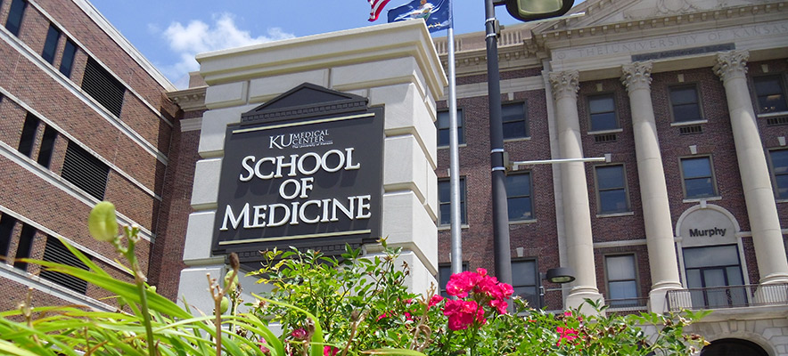 A sign outside of the University of Kansas School of Medicine.