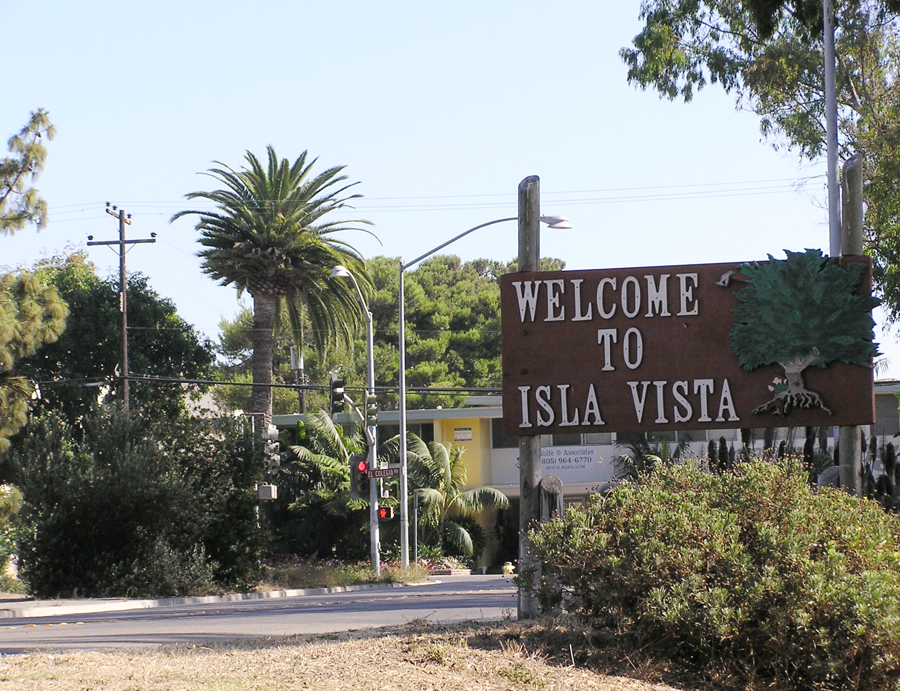 A sign welcoming individuals to the Isla Vista community, the site of the annual