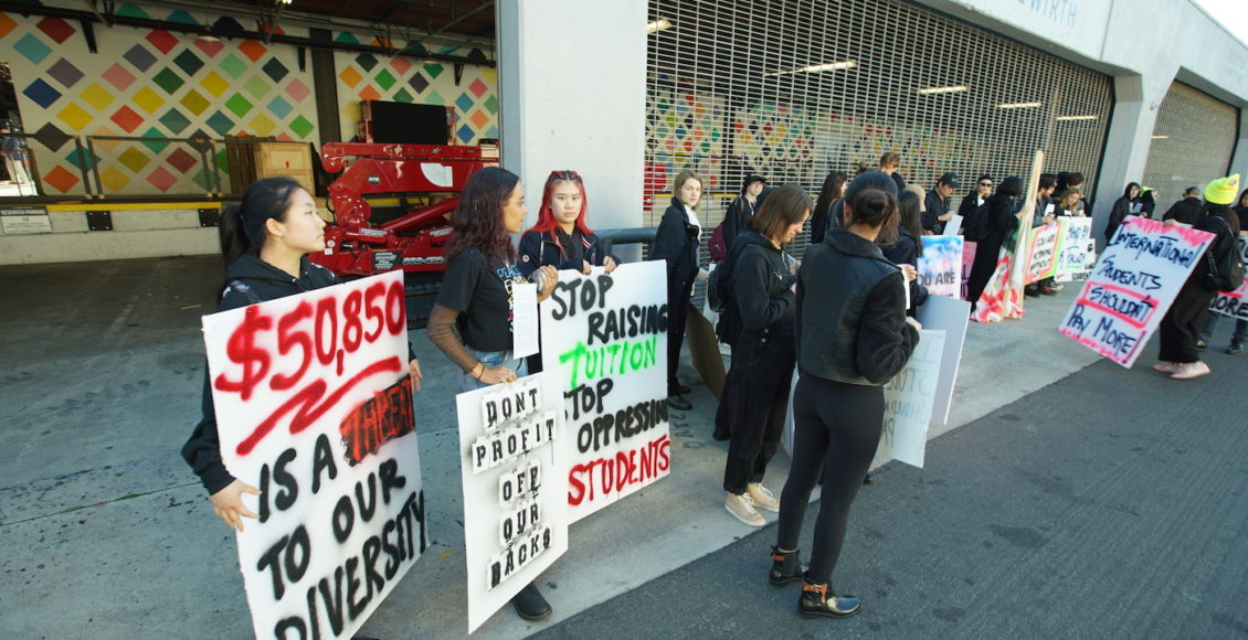 California Institute of the Arts students protesting outside the gallery Hauser & Wirth.