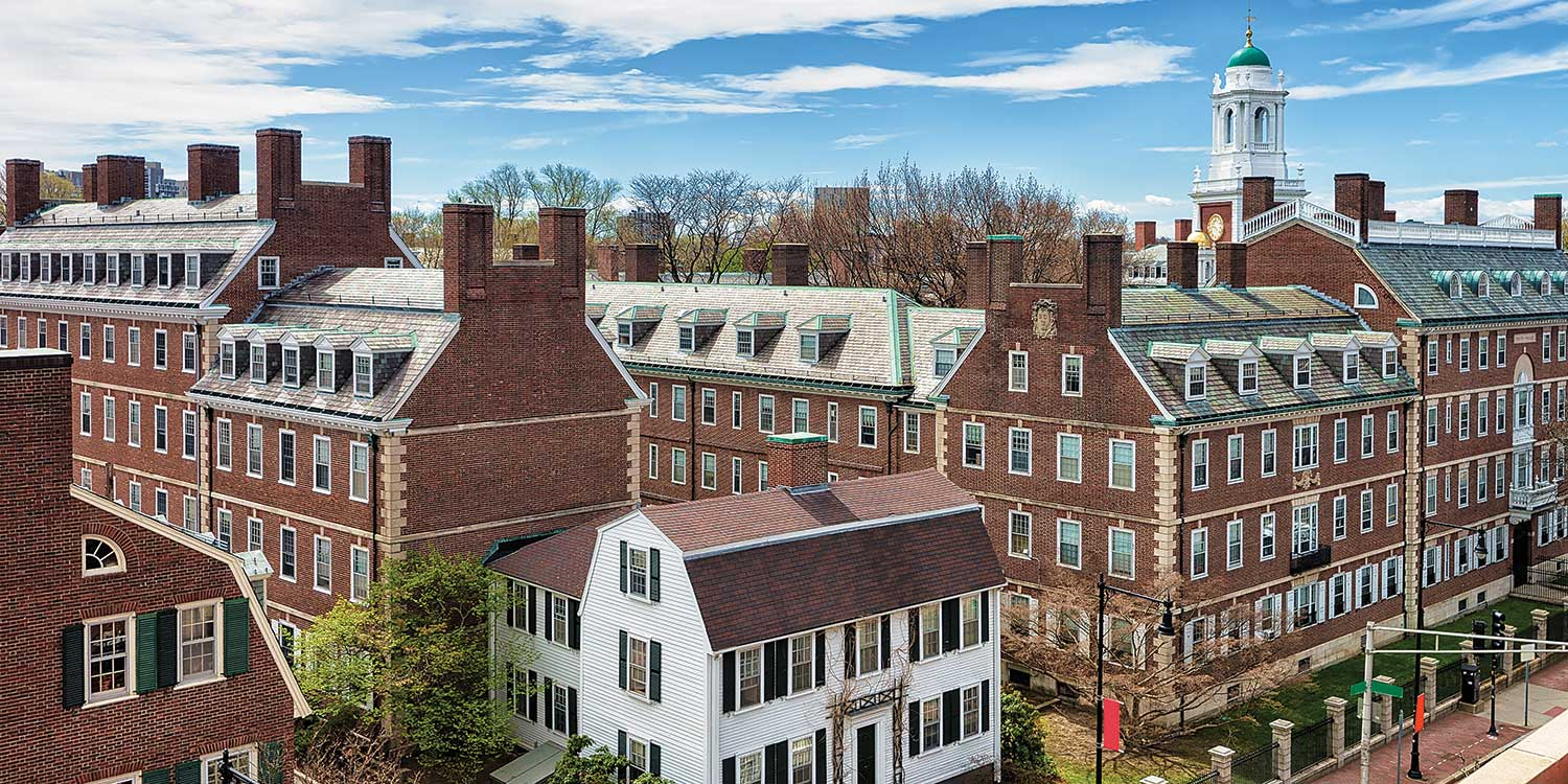 An aerial view of Harvard College.
