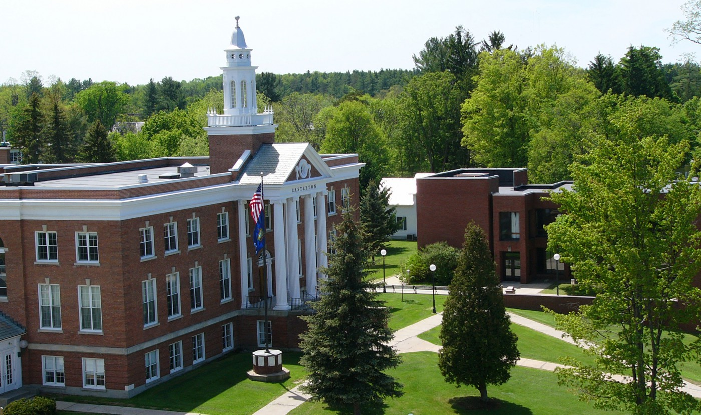 An aerial view of a building at Castleton University.