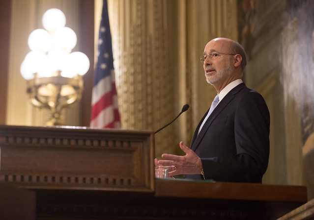 Pennsylvania Governor Tom Wolf speaking in 2017.