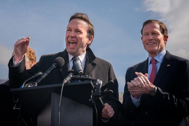 Senator Chris Murphy speaking in front of the US Capitol