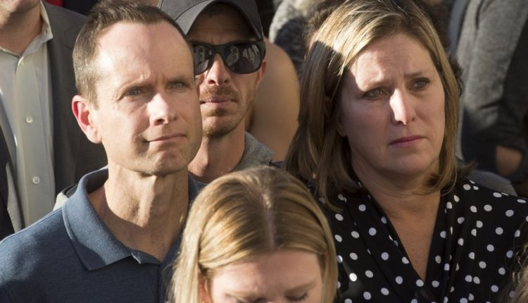 Matt and Jill McCluskey, parents of slain University of Utah student Lauren McCluskey, attend a vigil for their daughter on Wednesday, Oct 24, 2018 in Salt Lake City.