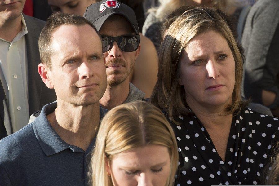 Matt and Jill McCluskey, parents of slain University of Utah student Lauren McCluskey, attend a vigil for their daughter on Wednesday, Oct 24, 2018 in Salt Lake City.