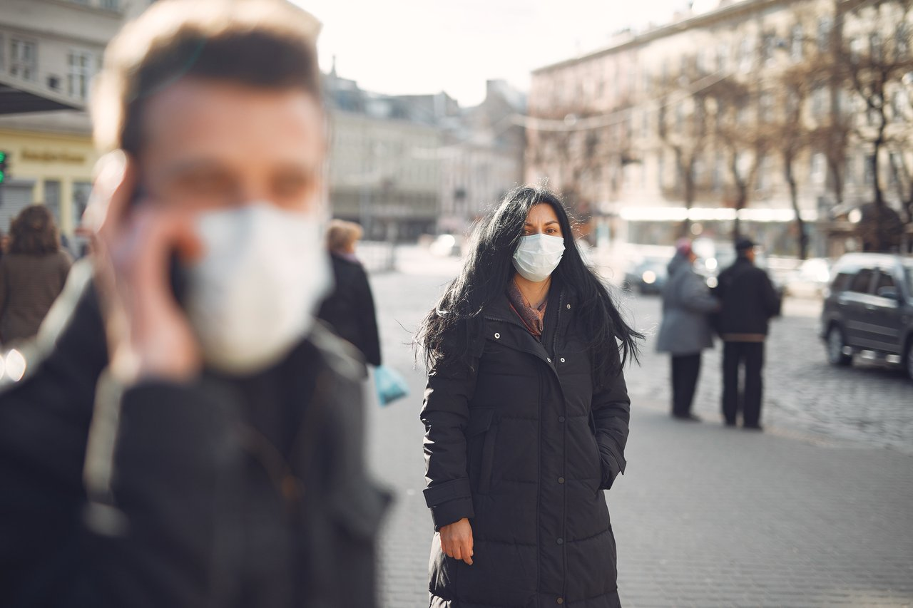 Women on the street with facemask
