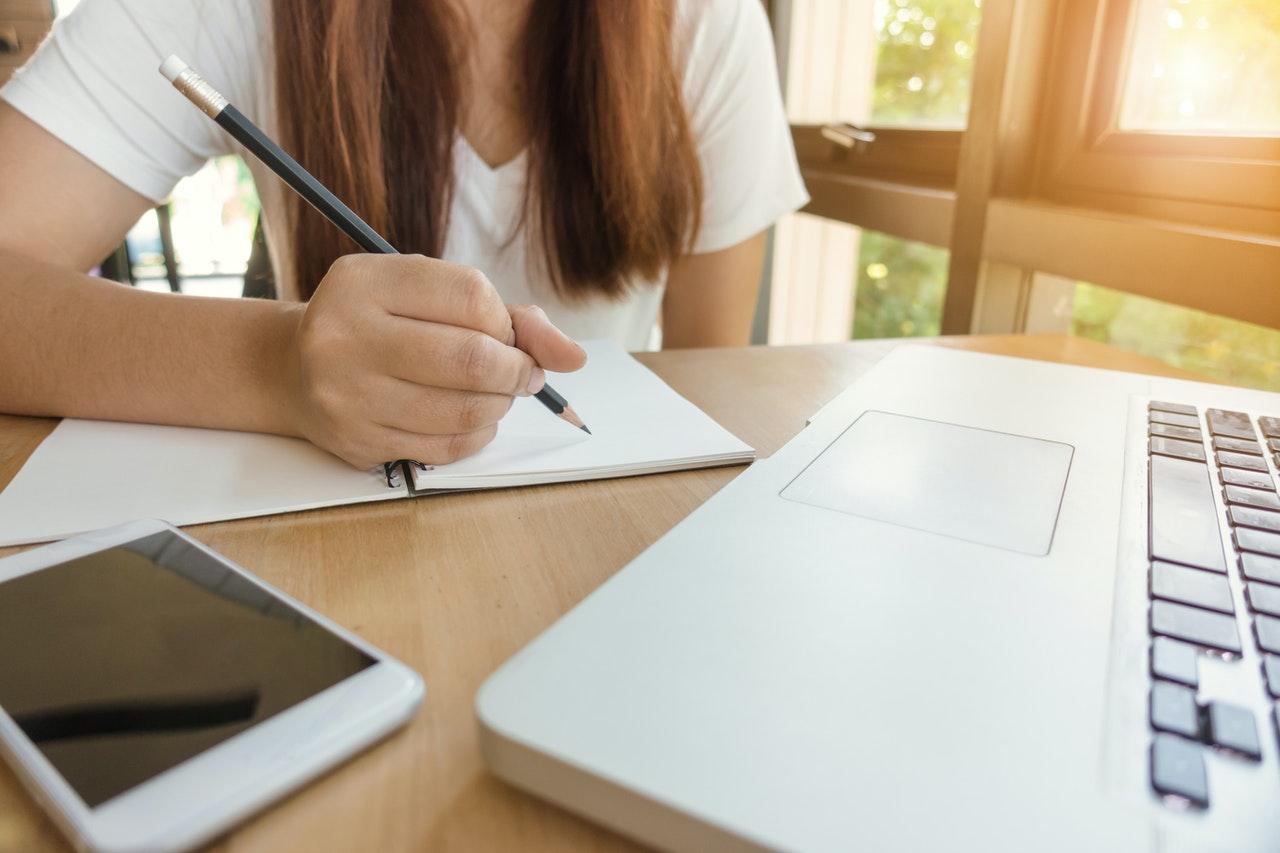 Student taking an online class