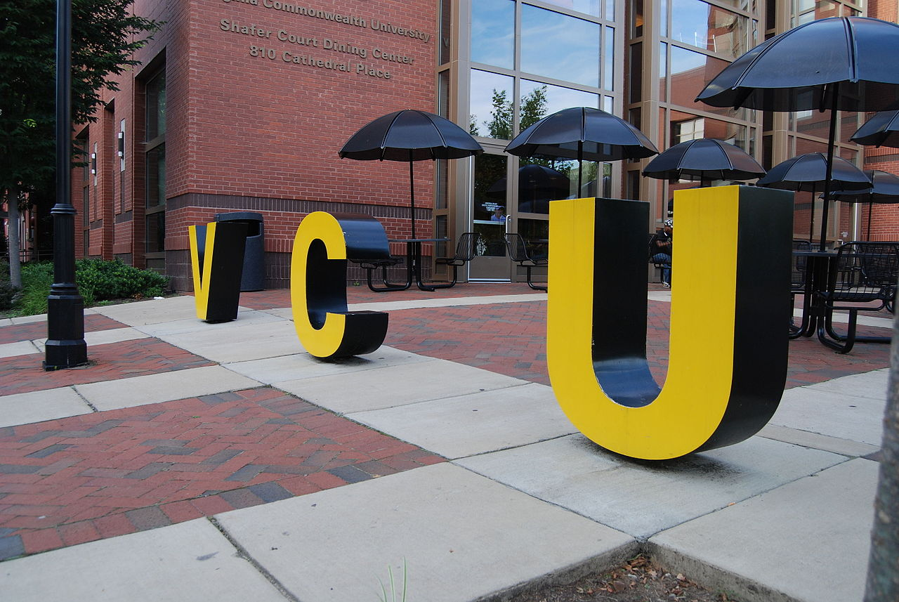 VCU letters in front of Virginia Commonwealth University