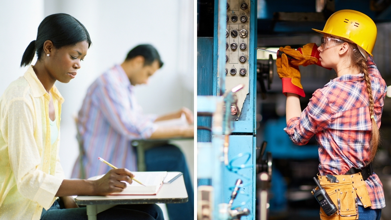 split-photo-of-girl-studying-at-college-vs-girl-doing-construction-work-at-trade-school