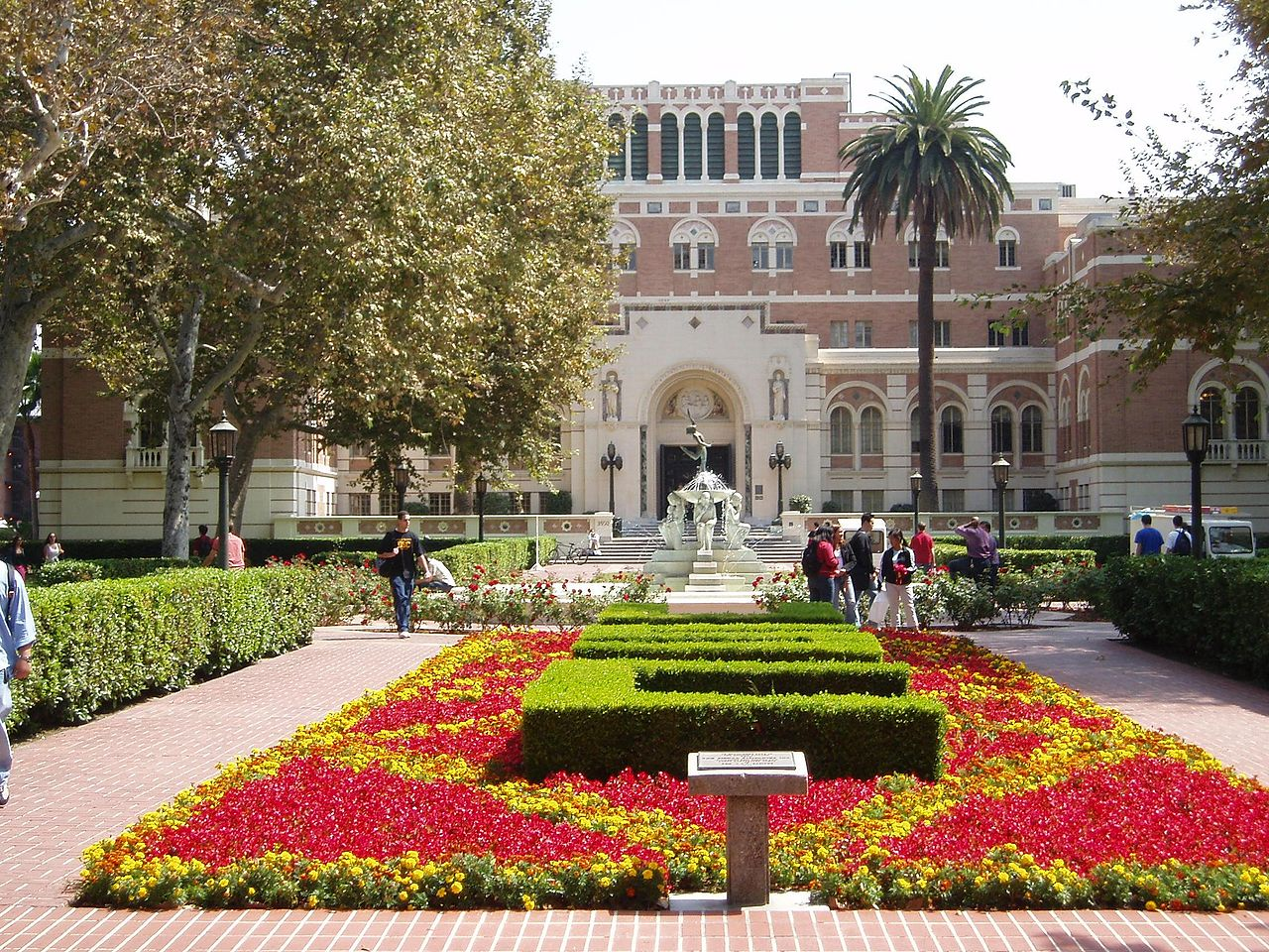 Doheny Library and gardens with fountain — at the University of Southern California.