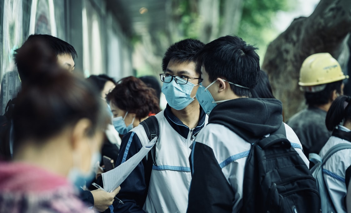 Students with face masks on
