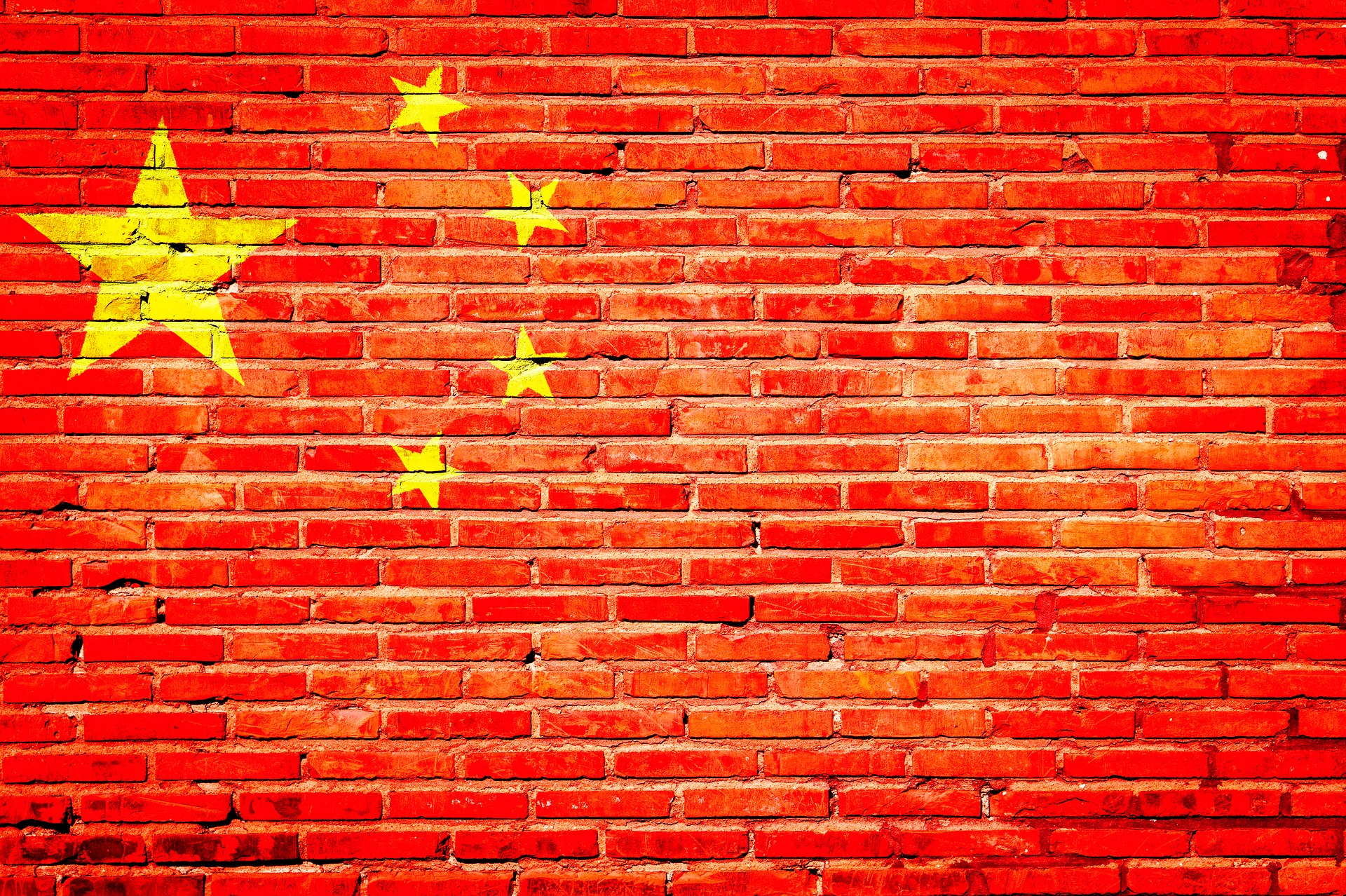 Image of China's flag painted on wall