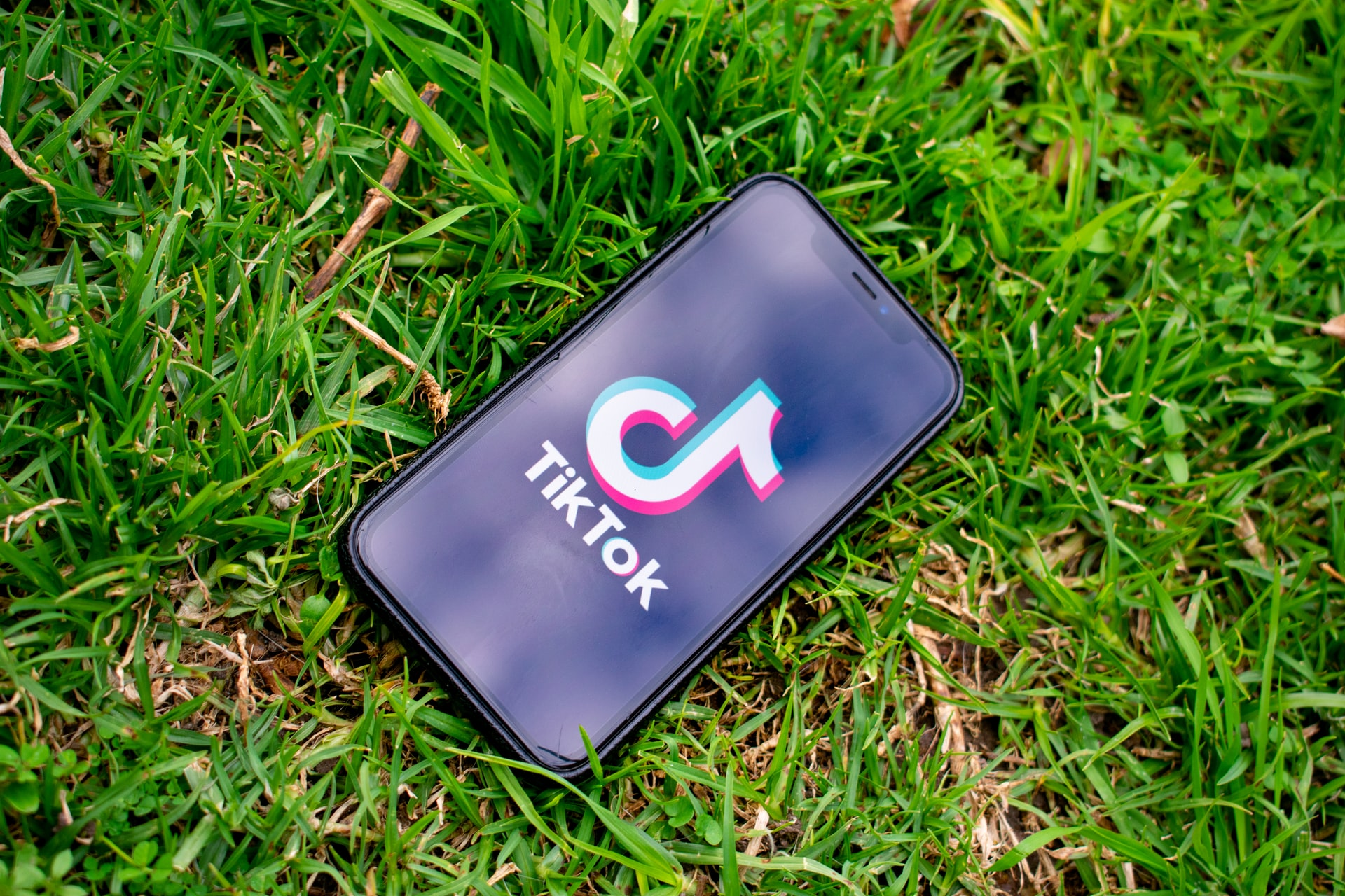 Photo of an iPhone laying in grass displaying the TikTok app
