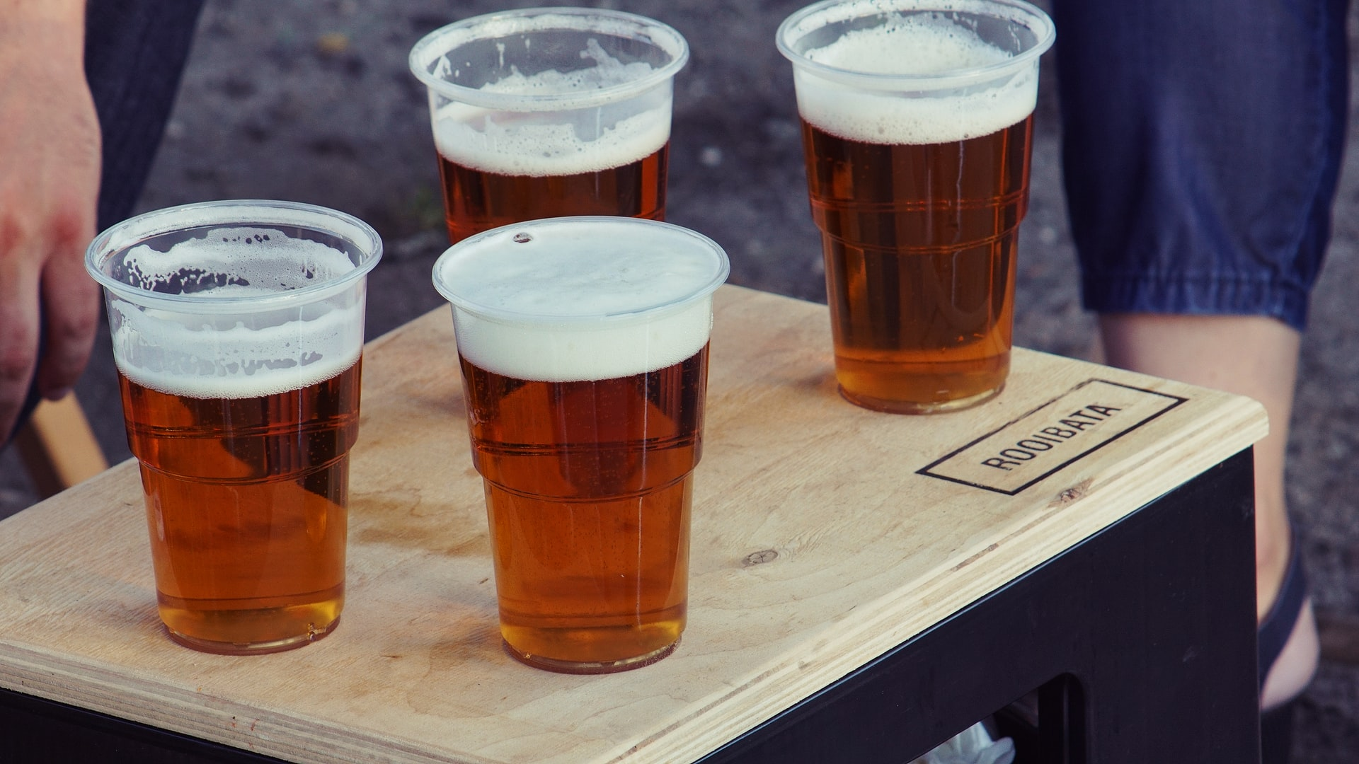 Photo of tray with beer
