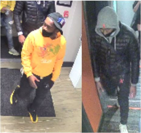 Surveillance camera images of the two persons of interest.