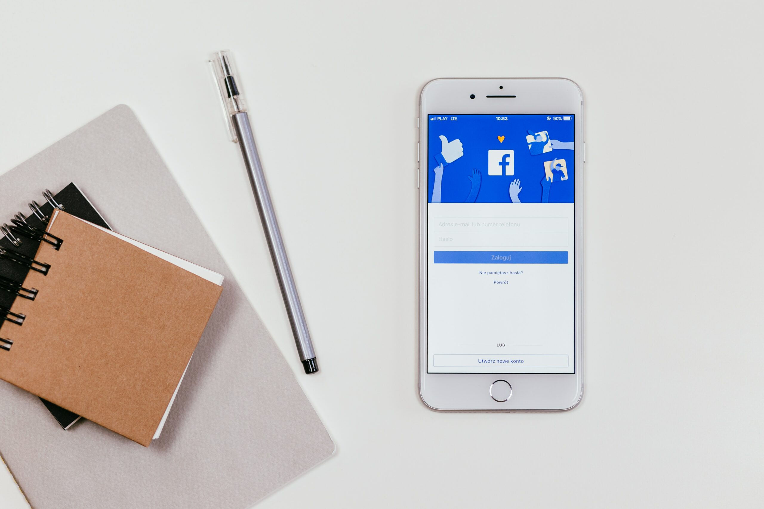 Facebook logo on a phone