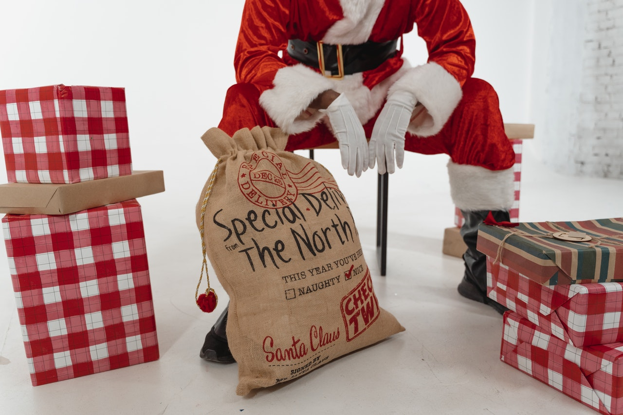Photo of Santa Claus with presents