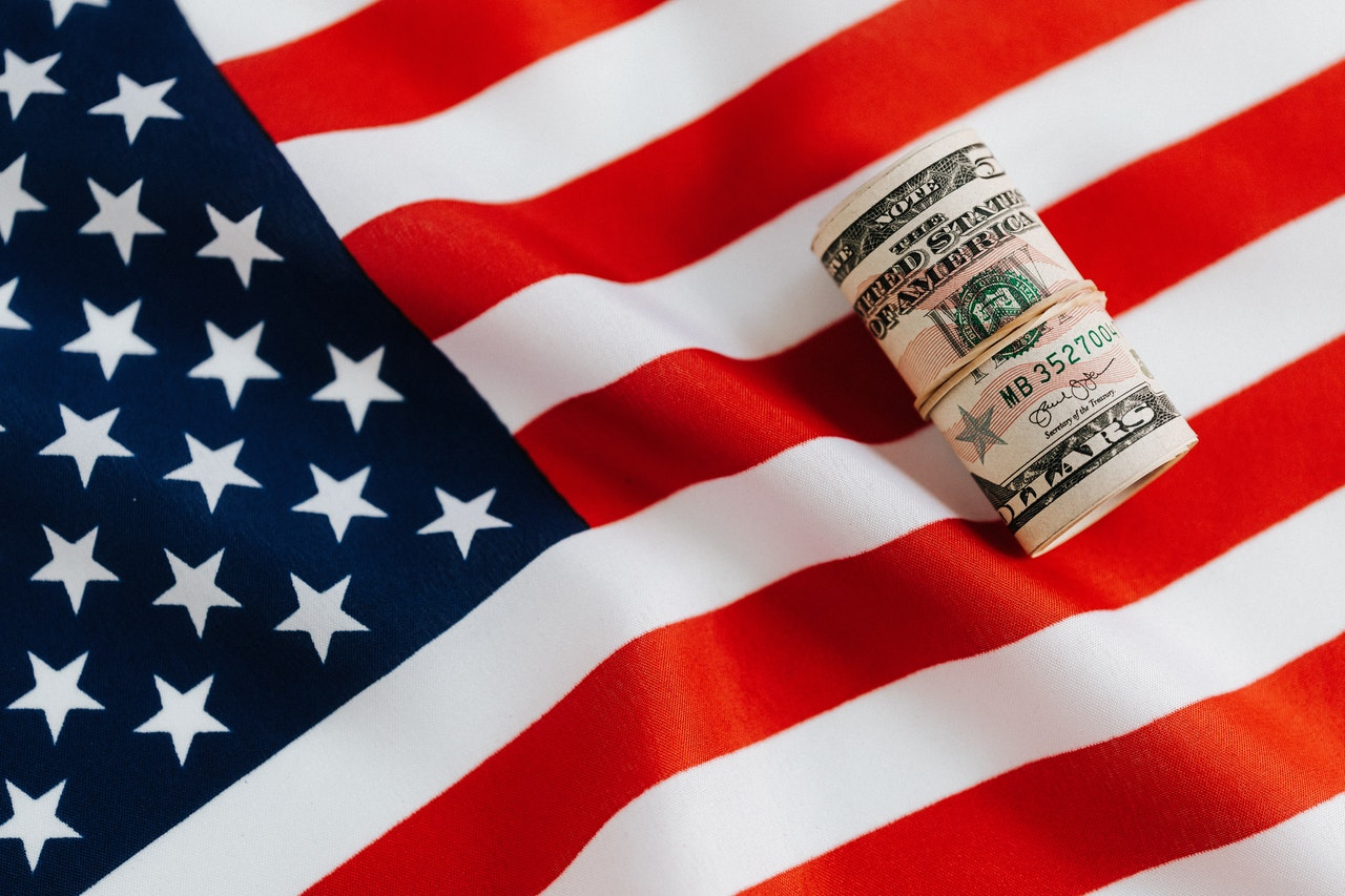 Photo of a US flag with dollars on it
