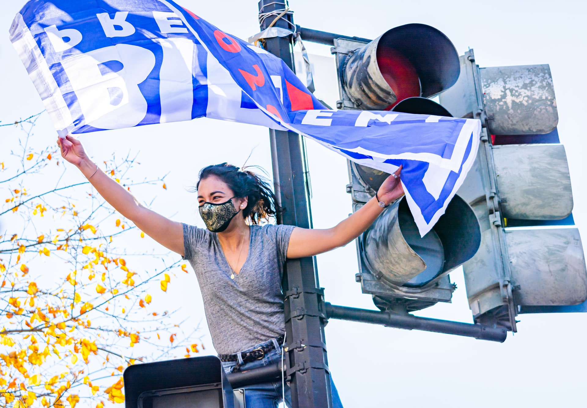 A woman perched on a streetlight holding a Biden-Harris flag