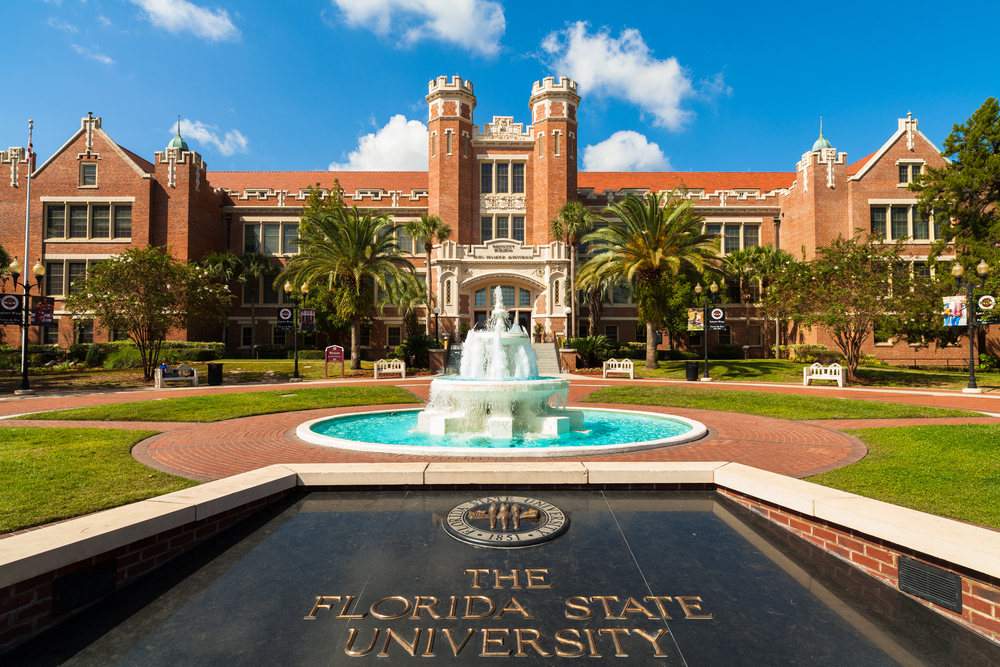 red brick administration building at the entrance of the Florida State University