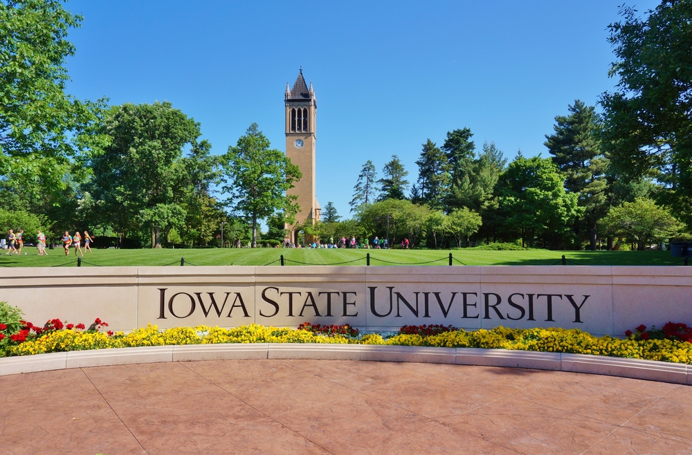 The landmark Stanton carillon bell tower campanile on the campus of Iowa State University
