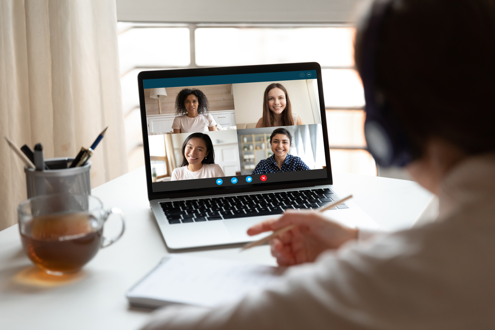 Student working online via video call with study group
