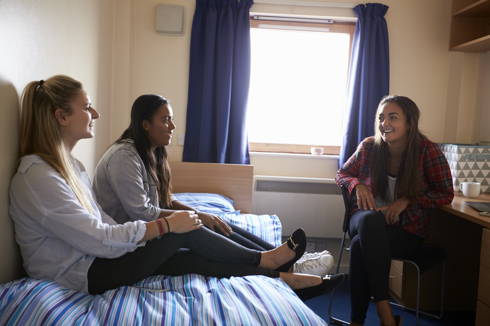 Female students relaxing in campus accomodation