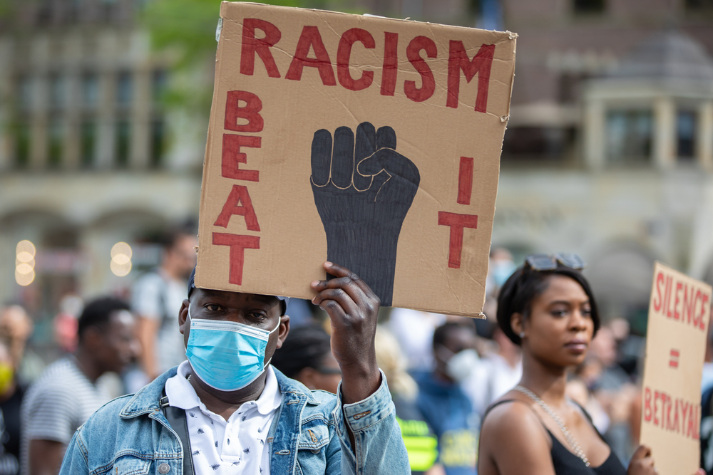 Protestors rallying against police brutality against Afro American citizens in the USA after the murder of George Floyd.