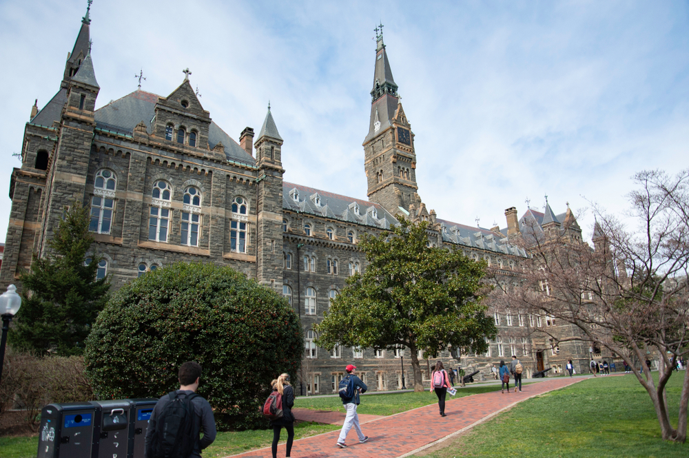 Students walking across the campus of Georgetown University